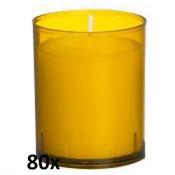 80 stuks Bolsius relight kaars in amber kunststof kaarsenhouder, voordeel verpakking