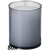 80 stuks Bolsius relight kaars in antraciet grijs kunststof kaarsenhouder, voordeel verpakking