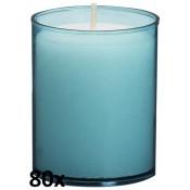 80 stuks Bolsius relight kaars in aqua blauw kunststof kaarsenhouder, voordeel verpakking