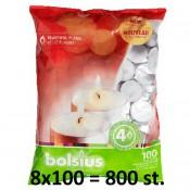 800 stuks witte 4 uur waxinelichtjes 18/38 Bolsius ( 8 dozen met 100 stuks )