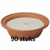 45 stuks Terracotta vlamschaal tuinkaars ivoor - wit 16 branduren 65/230