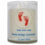 Kaarsen in bedrukte transparante houder 64/50 voor bedrijven en particulieren