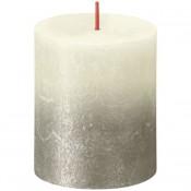Bolsius rustiek stompkaarsen ivoor met vervaagd gelakt metalliek zilver 80/68 (35 uur) Sunset Fading Soft Pearl - Champagne
