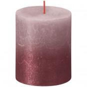 Bolsius rustiek stompkaarsen oud roze met vervaagd gelakt metalliek rood 80/68 (35 uur) Sunset Fading Ash Rose - Red