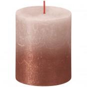 Bolsius rustiek stompkaarsen poeder roze met vervaagd gelakt metalliek roodkoper 80/68 (35 uur) Sunset Fading Misty Pink - Amber