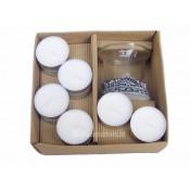 10 Waxinelichtjes samen met een schitterende glazenhouder in een doosje