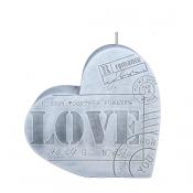 Grijze LOVE letter hart kaars 135/135/40 (40 uur)
