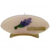 Beige lavendel provence ovale schijfkaars 90/185/12 op standaard (4uur)