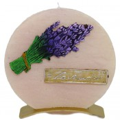 Beige lavendel provence ronde schijfkaars 150/145/12 op standaard (5uur)