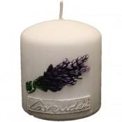 Witte lavendel provence stompkaars 90/80 (45uur)
