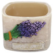 Beige lavendel provence vierkante wax windlicht 95/130/130 (incl. 1 stuk 3 uurs theelicht)
