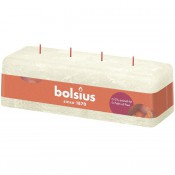Bolsius ivoor rustiek 4 lonten kaars 80/250/90 (51 uur) Eco Shine Soft Pearl