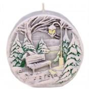 Grijze Kerst Winterlandschap Rustieke Geurkaars 90/40