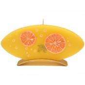 Sinaasappel ovale geurkaars 90/185/12 op standaard (4 uur)