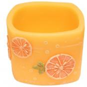 Sinaasappel geurende vierkante wax windlicht 95/130/130 (incl. 1 stuk 3 uurs theelicht)