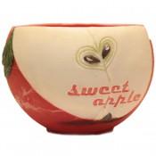 Rode appel geurende ronde wax windlicht 95/144 (incl. 1 stuks 3 uurs theelicht)