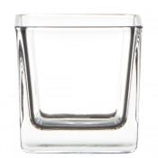 Glazen theelichthouder vierkant 60/60/60