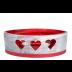 Rode en zilveren hart ovale windlicht (incl. 2 x 3 uur theelichten)